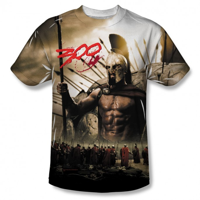 300 Spartans Print Polyester Adult T-shirt