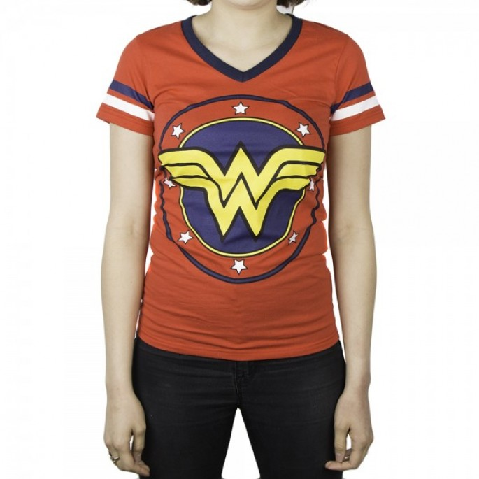 DC Comics Wonder Woman Juniors Red V-Neck T-Shirt