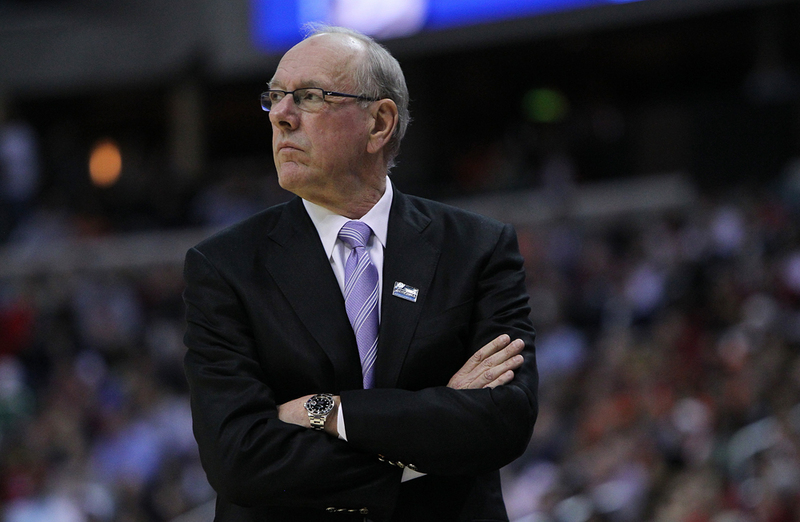 WASHINGTON, DC - MARCH 28: Head coach Jim Boeheim of the Syracuse Orange looks on during the game against the Indiana Hoosiers during the East Regional Round of the 2013 NCAA Men's Basketball Tournament at Verizon Center on March 28, 2013 in Washington, DC. (Photo by Nate Shron/The Daily Orange)