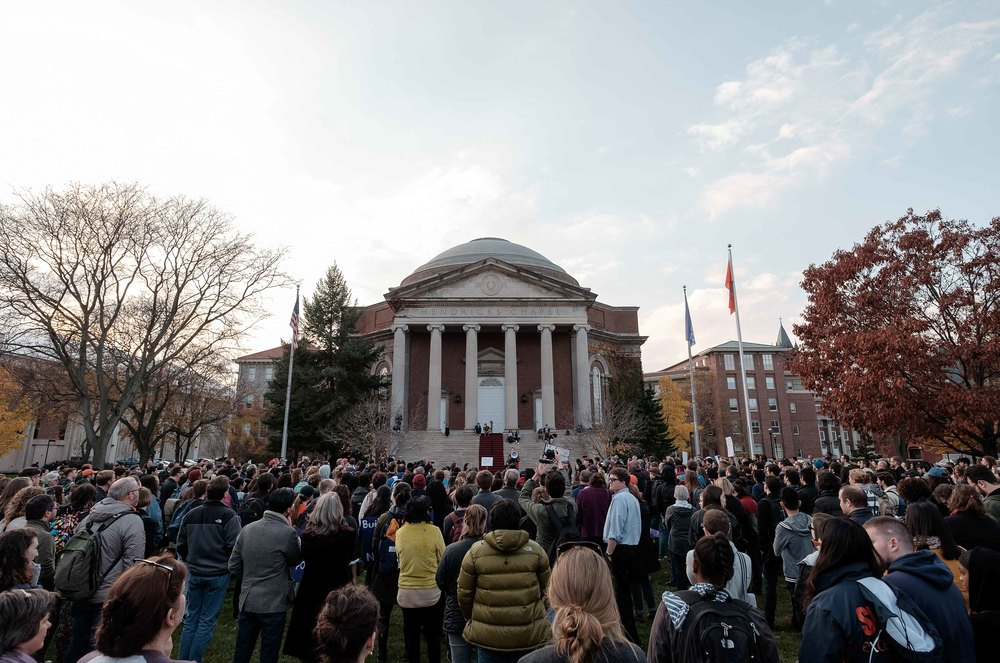 Students participate in the Sanctuary Campus rally on Syracuse University's campus on Wednesday, Nov. 16, 2016. The railly was one of many held at Universities around the country. Photo by Wasim Ahmad.
