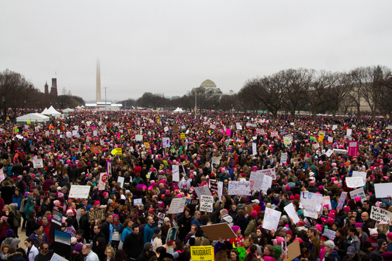 Thousands of protesters march in front of the Washington monument