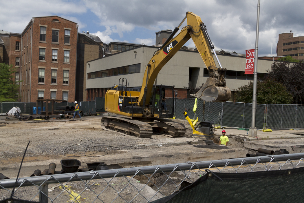 Work continues on the new sewer line along Waverly Avenue and on the future site of theNational Veterans Resource Complex. The site used to be where Hoople Hall was located.