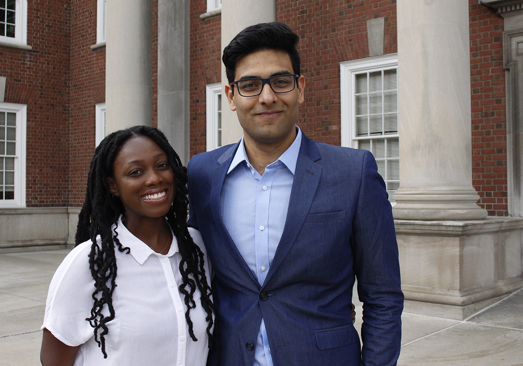 Diasia Robinson and Khalid Khan, co-chairs of the diversity affairs committee. Photo by Sara Schleicher.