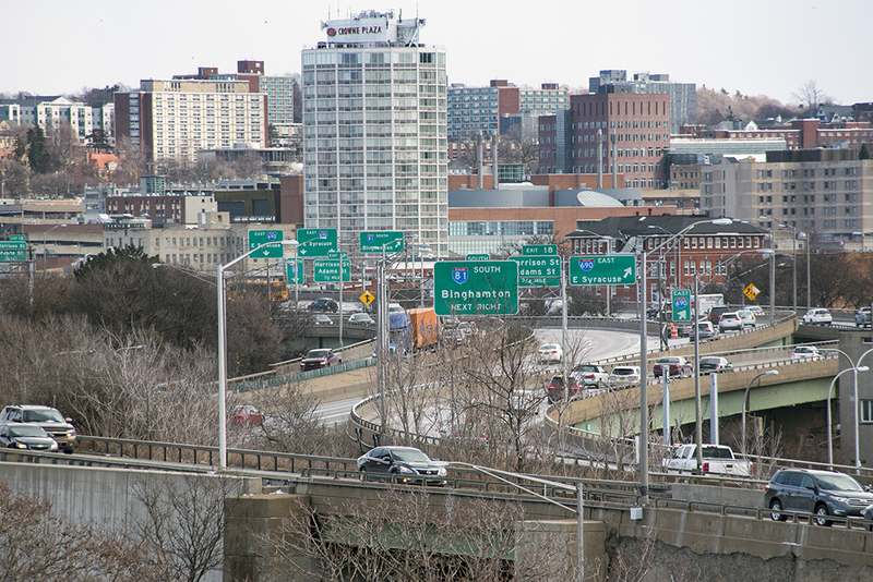 Interstate 81 and its intersection with Interstate 690 near Syracuse University as seen on March 3, 2017. Photo by Wasim Ahmad.