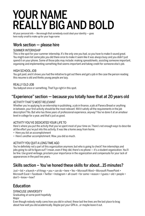 Attractive Humor_resume_720  Internship On A Resume