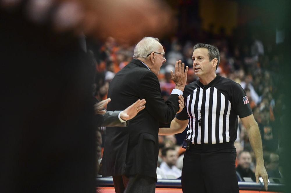 Jim Boeheim argues with a ref.