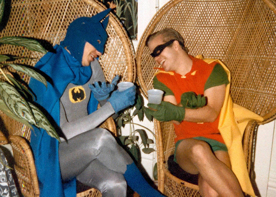Photograph of Sam Lloyd dressed as Bathman with Mark Snelson dressed as Robin