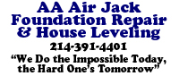 Website for AA Air Jack Foundation Repair, Inc
