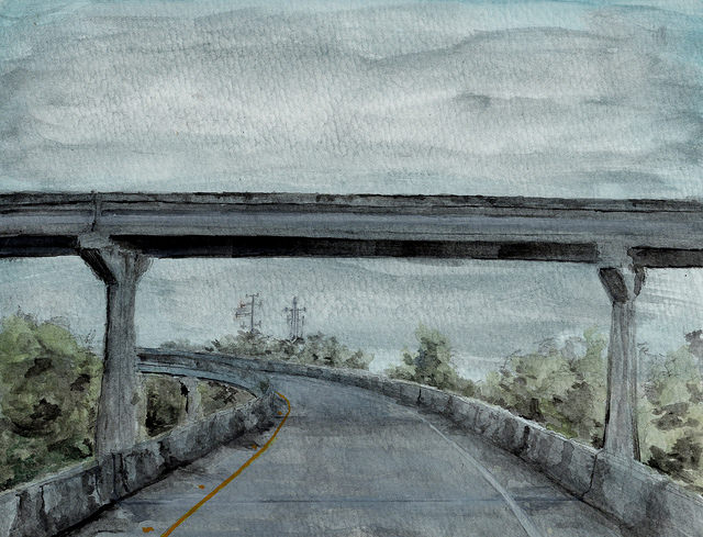 I-10 On Ramp. Watercolor. Darin Acosta.