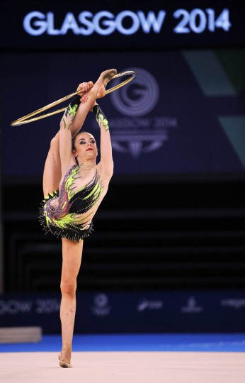 Laura Halford of Wales competes in the Individual All-Round Final of the Rhythmic Gymnastics event at The Hydro venue at the 2014 Commonwealth Games in Glasgow July 25, 2014. (Andy Buchanan/Getty Images)