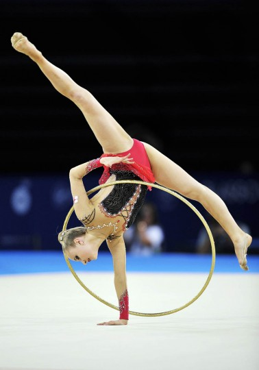 Stephani Sherlock of England competes in the Individual All-Round Final of the Rhythmic Gymnastics event at The Hydro venue at the 2014 Commonwealth Games in Glasgow, Scotland, 25th July 2014. (Andy Buchanan/Getty Images)