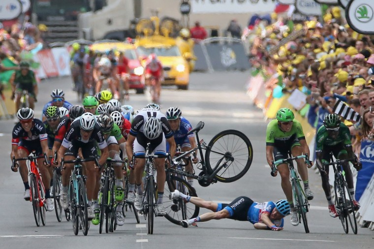 Andrew Talansky of the United States and Garmin-Sharp crashes in the sprint to the finish line in stage seven of the 2014 Le Tour de France from Epernay to Nancy on July 11, 2014 in Nancy, France. (Doug Pensinger/Getty Images)