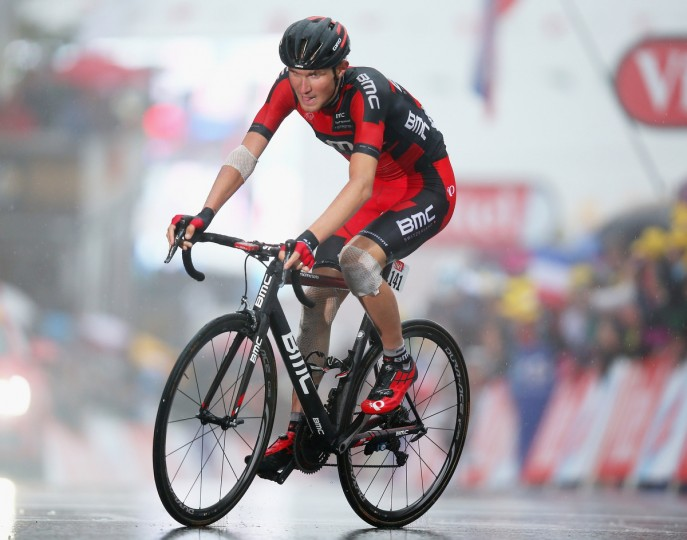 Tejay van Garderen of the USA and the BMC Racing Team crosses the finish line on stage eight of the 2014 Tour de France, a 161km stage between Tomblaine and Gerardmer La Mauselaine, on July 12, 2014 in Gerardmer La Mauselaine, France. (Bryn Lennon/Getty Images)