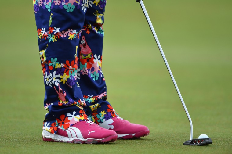 Detail of John Daly of the United States' outfit during a practice round prior to the start of The 143rd Open Championship at Royal Liverpool in Hoylake, England. (Stuart Franklin/Getty Images)