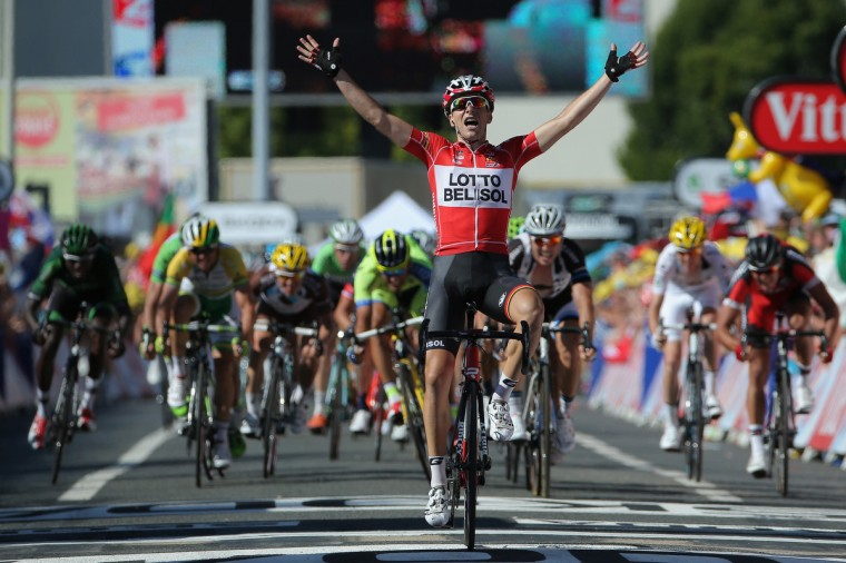 Tony Gallopin of France and Lotto Belisol celebrates as his solo breakaway eludes the peloton in the final meters to win the eleventh stage of the 2014 Tour de France, a 188km stage between Besancon and Oyonnax, on July 16, 2014 in Oyonnax, France. (Doug Pensinger/Getty Images)