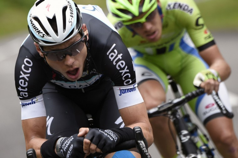Germany's Tony Martin (L) and Italy's Alessandro De Marchi ride in a breakaway during the 170 km ninth stage of the 101st edition of the Tour de France cycling race on July 13, 2014 between Gerardmer and Mulhouse, eastern France. (Eric Feferberg/Getty Images)