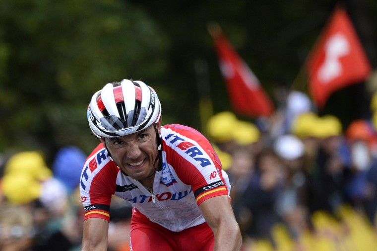 Spain's Joaquim Rodriguez rides in a breakaway during the 161.50 km tenth stage of the 101st edition of the Tour de France cycling race on July 14, 2014 between Mulhouse and La Planche des Belles Filles ski resort, eastern France. (Lionel Bonaventure/Getty Images)
