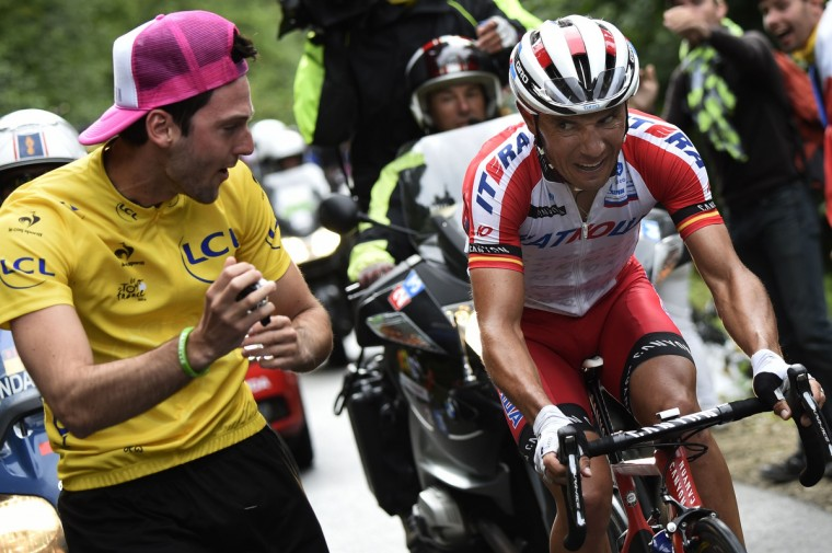 Spain's Joaquim Rodriguez rides in a breakaway during the 161.50 km tenth stage of the 101st edition of the Tour de France cycling race on July 14, 2014 between Mulhouse and La Planche des Belles Filles ski resort, eastern France. (Eric Feferberg/Getty Images)