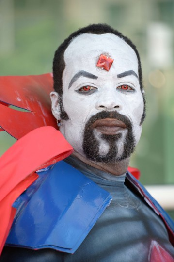 Davien O., dressed as Marvel villian Mr. Sinister, attends the first day of the 45th annual San Diego Comic-Con, in San Diego California July 24, 2014. The four-day pop culture extravaganza celebrates film, TV, video games, comic books, costumes and other popular arts. More than 150,000 fans are expected to attend the sold-out event. (Robyn Beck/Getty Images)
