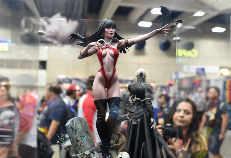 The Vampirella Premium Format Figure, which sells for 399 USD, is displayed on the first day of the 45th annual Comic-Con in San Diego, California on July 24, 2014 at the San Diego Convention Center. The four-day pop culture extravaganza celebrates film, TV, video games, comic books, costumes and other popular arts. More than 150,000 fans were expected to attend the sold-out event. (Robyn Beck/AFP/Getty Images)