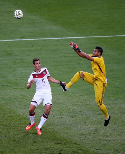 Goalkeeper Sergio Romero of Argentina goes up for a save against Miroslav Klose of Germany during the 2014 FIFA World Cup Brazil Final match between Germany and Argentina at Maracana on July 13, 2014 in Rio de Janeiro, Brazil. (Robert Cianflone/Getty Images)