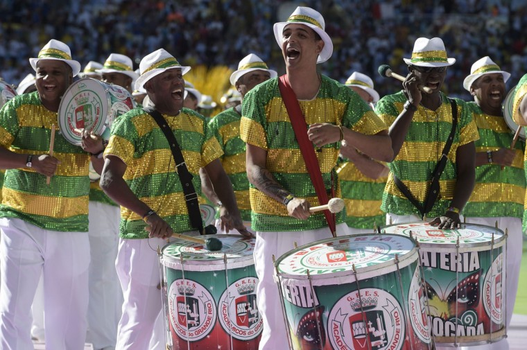 Drummers perform during the closing ceremony prior to the 2014 FIFA World Cup final football match between Germany and Argentina at the Maracana Stadium in Rio de Janeiro, Brazil, on July 13, 2014. (Juan Mabromata/AFP/Getty Images)