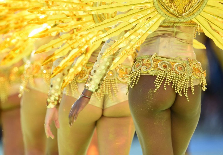 Dancers perform during the closing ceremony prior to the 2014 FIFA World Cup final football match between Germany and Argentina at the Maracana Stadium in Rio de Janeiro, Brazil, on July 13, 2014. (Pedro Ugarte/AFP/Getty Images)