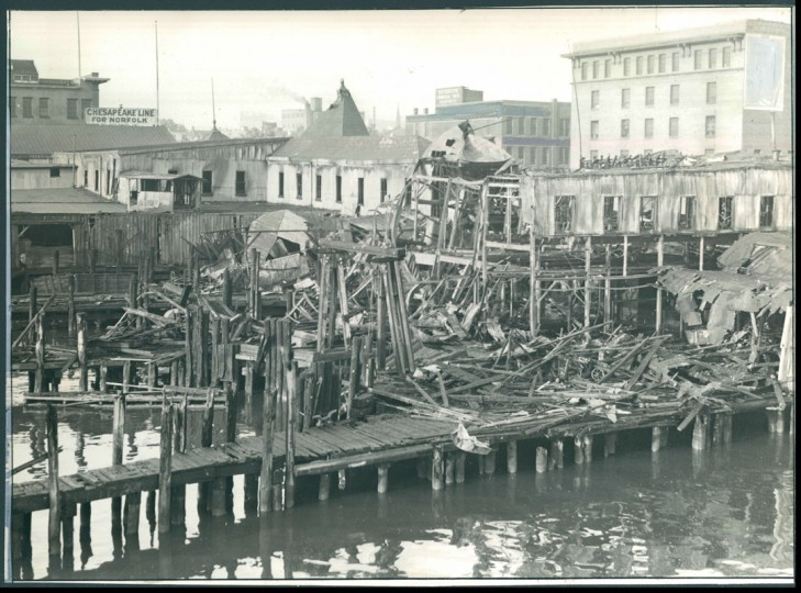 Historic Pier 16, center of a 6-alarm fire.