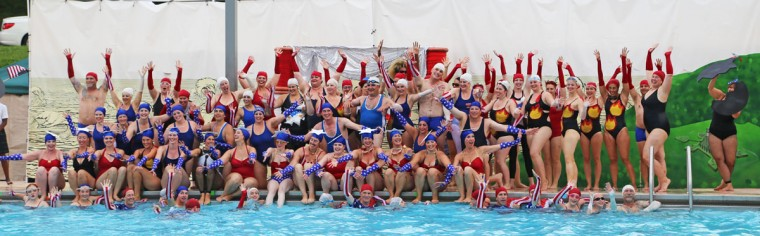 "Fluid Movement performed a water ballet on July 24, 2014 at Druid Hill Park. ""Star Spangled Swimmer: A War of 1812 Water Ballet"" sold out its first night and drew a large crowd the following night. (Kaitlin Newman/Baltimore Sun)"