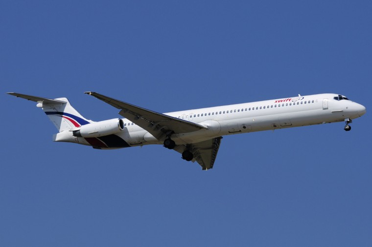 A Swiftair MD-83 airplane is seen in this undated photo. Authorities have lost contact with an Air Algerie flight en route from Ouagadougou in Burkina Faso to Algiers with 110 passengers on board, Algeria's APS state news agency and a Spanish airline company said on Thursday. Spanish private airline company Swiftair confirmed it had no contact with its MD-83 aircraft operated by Air Algerie, which it said was carrying 110 passengers and six crew. The company said in a notice posted on its website that the aircraft took off from Burkina Faso at 0117 GMT and was supposed to land in Algiers at 0510 GMT but never reached its destination. (Xavier Larrosa/Reuters)