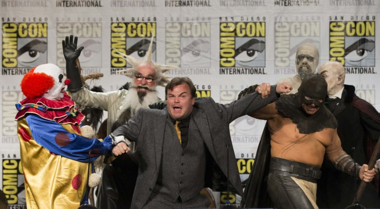 "Cast member Jack Black is escorted off stage by characters from the movie ""Goosebumps"" at its panel during the 2014 Comic-Con International Convention in San Diego, California July 24, 2014. (Mario Anzuoni/Reuters)"