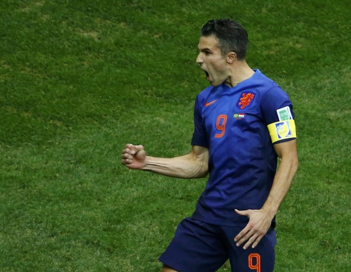 Robin van Persie of the Netherlands celebrates after scoring a goal against Brazil during their 2014 World Cup third-place playoff at the Brasilia national stadium in Brasilia July 12, 2014. (Ruben Sprich/Reuters)
