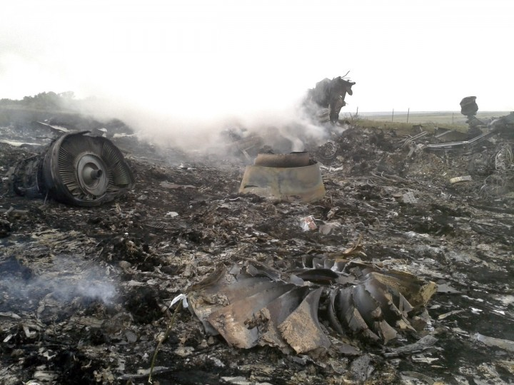 The site of a Malaysia Airlines Boeing 777 plane crash is seen in the settlement of Grabovo in the Donetsk region, July 17, 2014. The Malaysian airliner MH-17 was shot down over eastern Ukraine by pro-Russian militants on Thursday, killing all 295 people aboard, a Ukrainian interior ministry official said. (Maxim Zmeyev/Reuters)