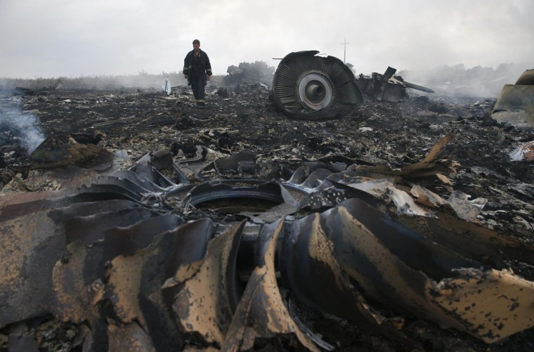 An Emergencies Ministry member walks at a site of a Malaysia Airlines Boeing 777 plane crash near the settlement of Grabovo in the Donetsk region, July 17, 2014. The Malaysian airliner flight MH-17 was brought down over eastern Ukraine on Thursday, killing all 295 people aboard and sharply raising the stakes in a conflict between Kiev and pro-Moscow rebels in which Russia and the West back opposing sides. (Maxim Zmeyev/Reuters)