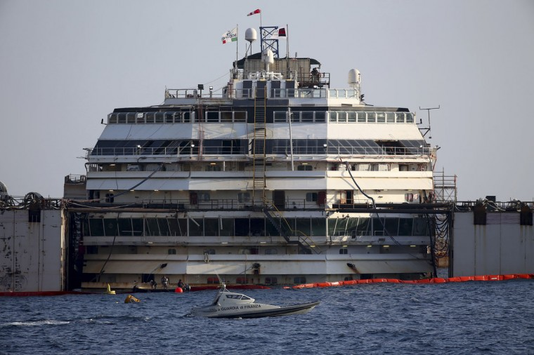 The cruise liner Costa Concordia is seen during a refloat operation at Giglio harbor at Giglio Island July 14, 2014. (REUTERS/Alessandro Bianchi)
