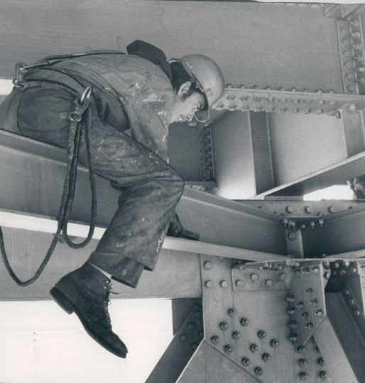 November 22, 1978: A neverending job: A paint crew member straddles a steel I-beam underneath the old Chesapeake Bay Bridge in his constant task of painting the 4.5-mile structure. It takes five years and 30,000 gallons of silvery aluminum spray paint to cover the bridge from one end to the other. When that is accomplished, it's time to start all over again. (Clarence B. Garrett)