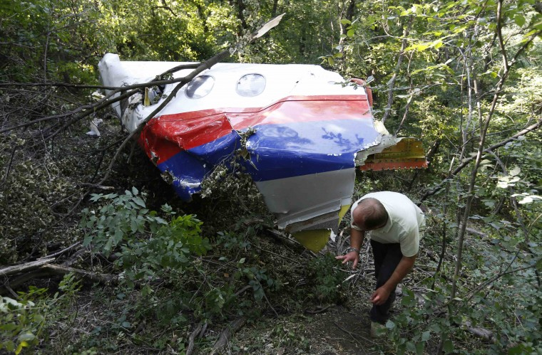 A man walks past wreckage at the crash site of Malaysia Airlines Flight MH17 near the village of Hrabove (Grabovo), Donetsk region. Nearly 300 people, 193 of them Dutch citizens, were killed when the Malaysia Airlines plane en route from Amsterdam to Kuala Lumpur was brought down in eastern Ukraine, where separatists are battling government forces, on July 17. (Sergei Karpukhin/Reuters)