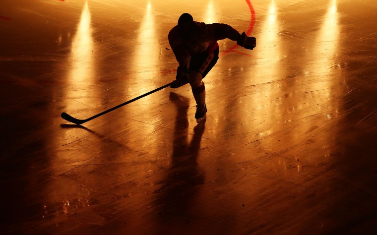 A Canadian player makes his way onto the rink before the International Ice Hockey Series between the United States and Canada at Allphones Arena in Sydney, Australia. (Mark Nolan/Getty Images)