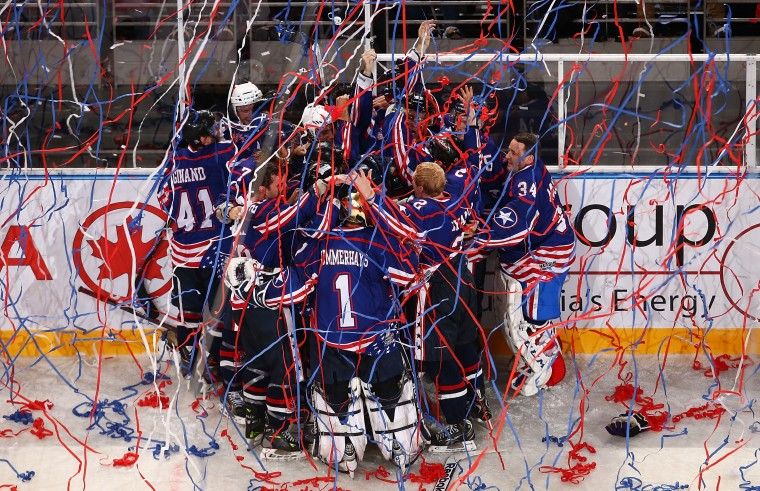 The Team USA celebrates a goal in extra time to win the International Ice Hockey Series between the United States and Canada at Allphones Arena in Sydney, Australia. (Mark Nolan/Getty Images)