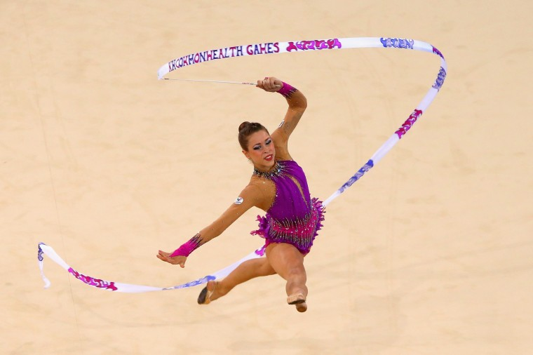 Francesca Jones of Wales competes in the Gymnastics Rhythmic Individual Ribbon Final at SECC Precinct during day three of the Glasgow 2014 Commonwealth Games in Glasgow, Scotland. (Alex Livesey/Getty Images)