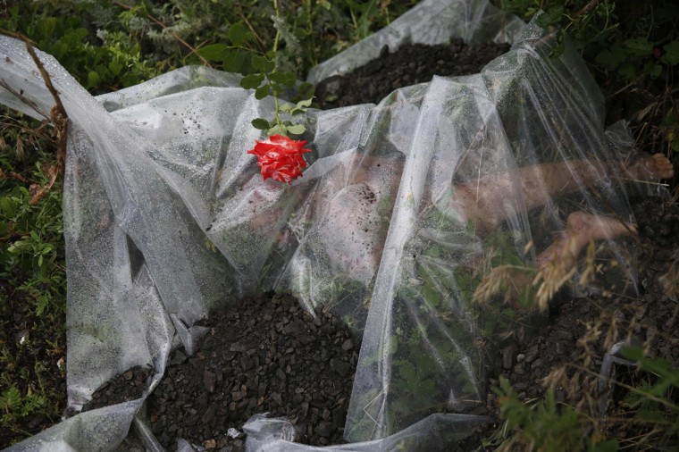 A rose lies on a plastic sheet covering a victim of a Malaysian Airlines Boeing 777 plane which was downed on Thursday near the village of Rozsypne, in the Donetsk region July 18, 2014. World leaders demanded an international investigation into the shooting down of Malaysia Airlines Flight MH17 with 298 people on board over eastern Ukraine in a tragedy that could mark a pivotal moment in the worst crisis between Russia and the West since the Cold War. (Maxim Zmeyev/Reuters)