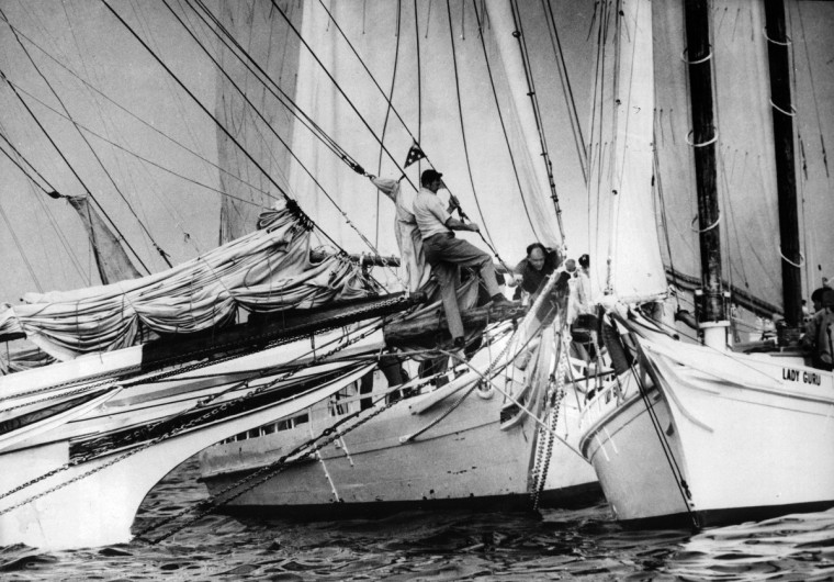 "LaForce won 1st place in the Chesapeake Appreciation Photo Contest with this photo titled ""Traffic Jam."" The picture was Skipjacks colliding during races off Sandy Point 1971. (William L. LaForce, Jr./Baltimore Sun)"
