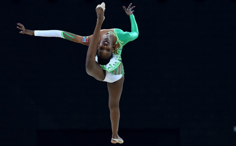 South Africa's Grace Legote competes in the Individual All-Around Final of the Rhythmic Gymnastics event at The SSE Hydro venue at the 2014 Commonwealth Games in Glasgow July 25, 2014. (Ben Stansall/Getty Images)