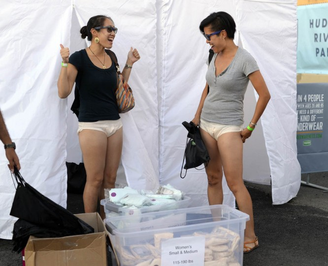 "Women arrive at Pier 97 in New York August 6, 2014 for the ""Drop Your Pants and Dance for Underwareness"" to help support the 65 million Americans who experience bladder leakage by bringing the condition and Depend Underwear out of hiding. For every pants drop, photo and video shared using #Underwareness and #DropYourPants, Depend Underwear will donate $1, up to $3 million over the next three years to charitable organizations that advance the research and education of bladder leakage. (Timothy A. Clary/Getty Images)"