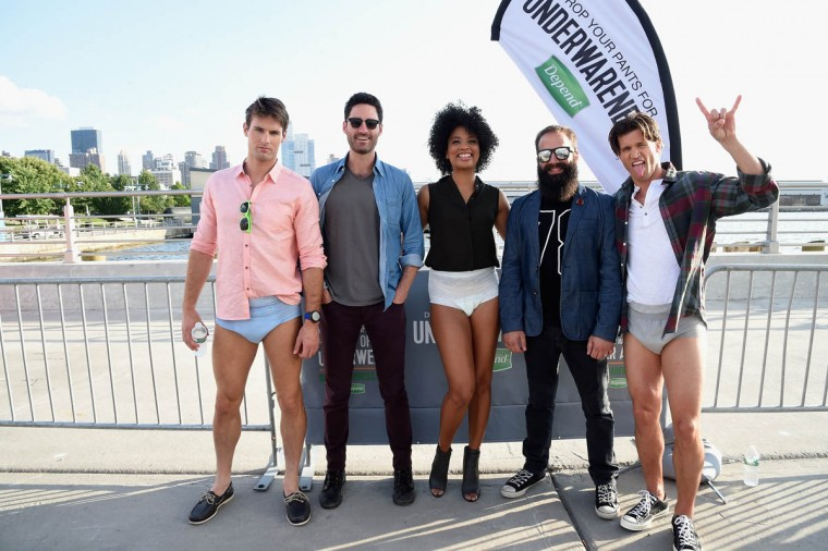 Ryan Merchant and Sebu Simonian of Capital Cities pose at the Drop Your Pants and Dance for Underwareness Concert, hosted by Depend on August 6, 2014 in New York City. (Jamie McCarthy/Getty Images for Depend)