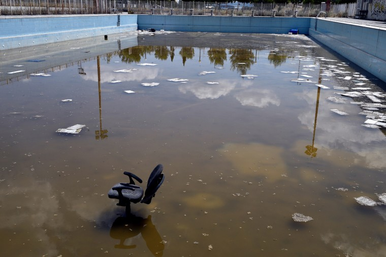 General view of a swimming pool in the former Olympic Village in Athens, Greece on July 31, 2014. (Milos Bicanski/Getty Images)