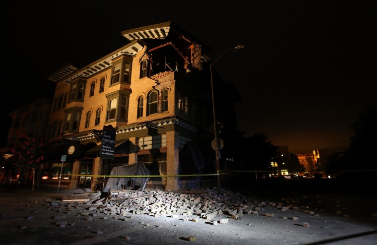 A building is seen destroyed following a reported 6.0 earthquake on August 24, 2014 in Napa, California. A 6.0 earthquake rocked the San Francisco Bay Area shortly after 3 am on Sunday morning. (Justin Sullivan/Getty Images)
