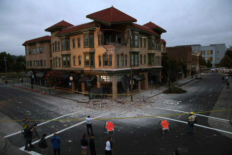A building is seen destroyed following a reported 6.0 earthquake on August 24, 2014 in Napa, California. A 6.0 earthquake rocked the San Francisco Bay Area shortly after 3:00 am on Sunday morning causing damage to buildings and sending at least 70 people to a hospital with non-life threatening injuries. (Justin Sullivan/Getty Images)