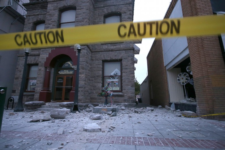 Debris sits on the ground in front of a damaged building following a reported 6.0 earthquake on August 24, 2014 in Napa, California. A 6.0 earthquake rocked the San Francisco Bay Area shortly after 3:00 am on Sunday morning causing damage to buildings and sending at least 70 people to a hospital with non-life threatening injuries. (Justin Sullivan/Getty Images)