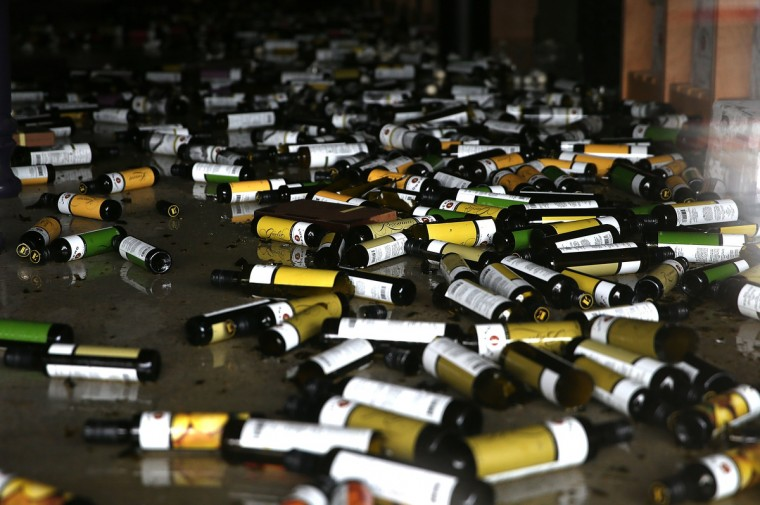 Bottles of olive oil and vinegar sit on the floor of a business damaged by a reported 6.0 earthquake on August 24, 2014 in Napa, California. A 6.0 earthquake rocked the San Francisco Bay Area shortly after 3:00 am on Sunday morning causing damage to buildings and sending at least 70 people to a hospital with non-life threatening injuries. (Justin Sullivan/Getty Images)